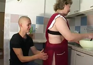 Russian granny housemaid getting plowed deep
