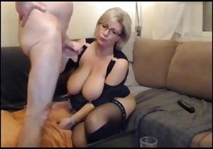 Big boobs granny sucking on a fat cock here