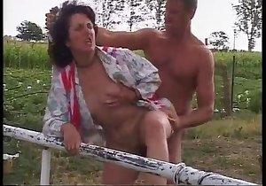 Dark-haired bitch getting drilled outdoors