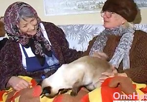 Blond-haired granny fucks grey-haired granny