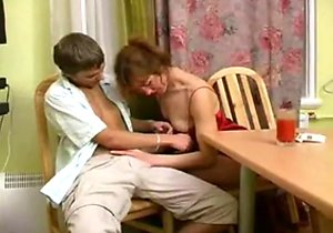 Russian mom getting banged on the table here